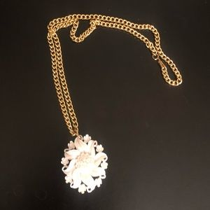 White Floral Bone Pendant Necklace with Gold Chain